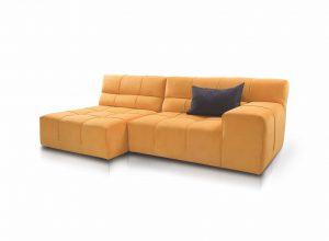 Designerski narożnik w kolorze pomarańczowym z szara poduszką