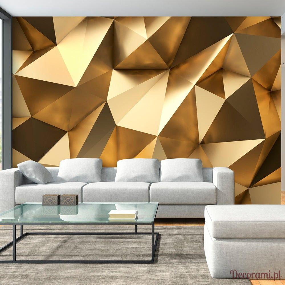Fototapeta w trójwymiarowe złote wzory geometryczne w salonie.