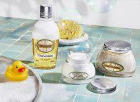 Migdał L'Occitane - dwufazowy olejek i inne kosmetyki z serii w łazience