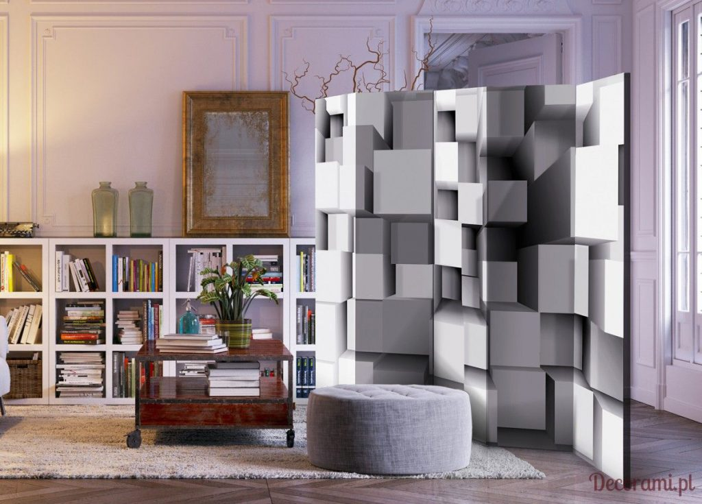 Nowoczesny parawan w szare geometryczne wzory 3D w salonie z biblioteczką