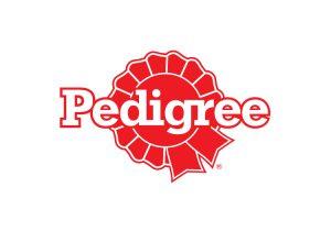 Czerwony logotyp marki Pedigree
