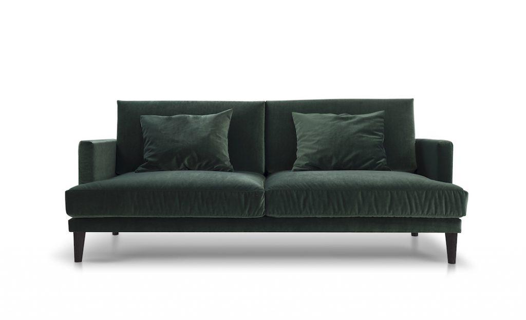Designerska sofa z kolorze butelkowej zieleni
