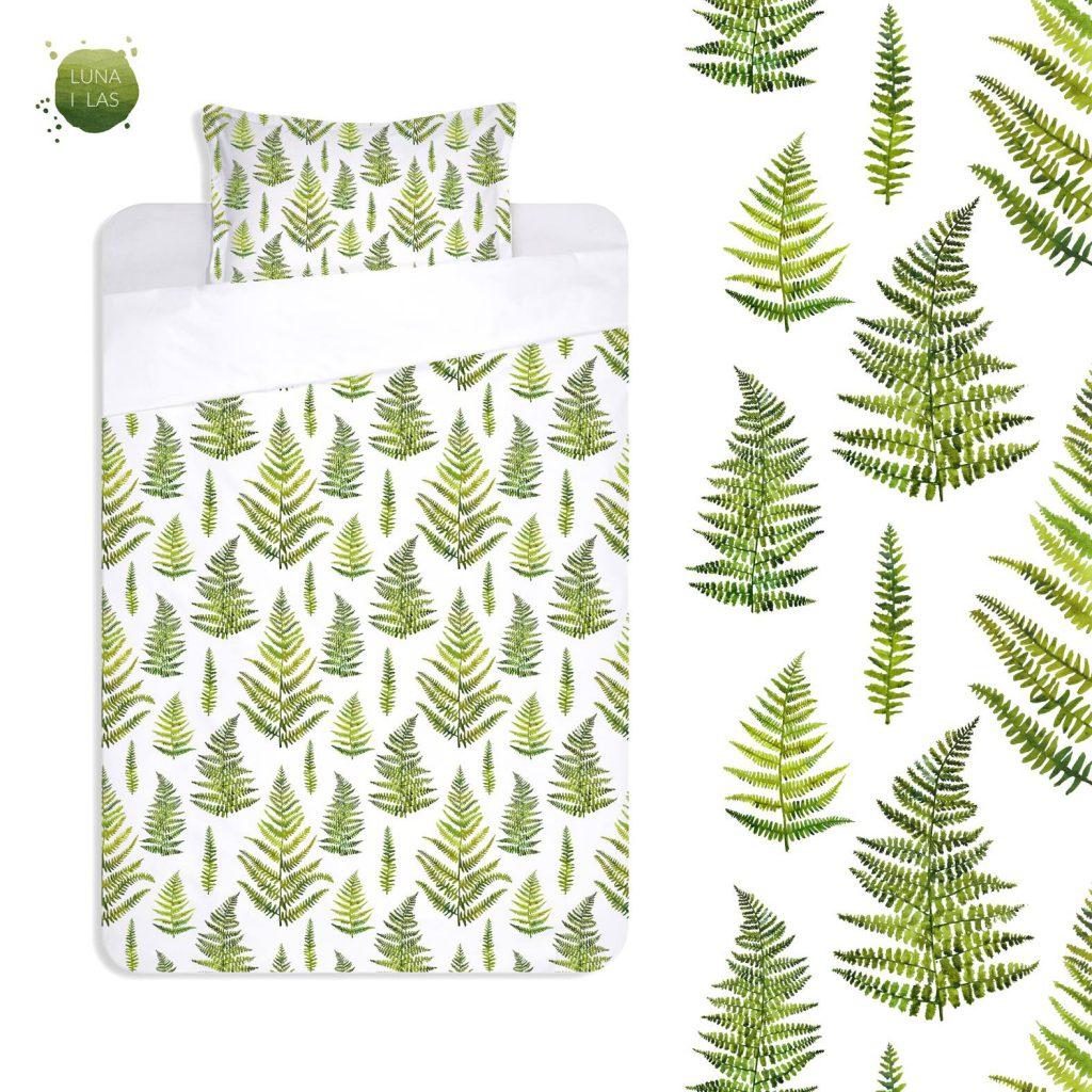 Wzór zielonego liścia paproci na pościeli