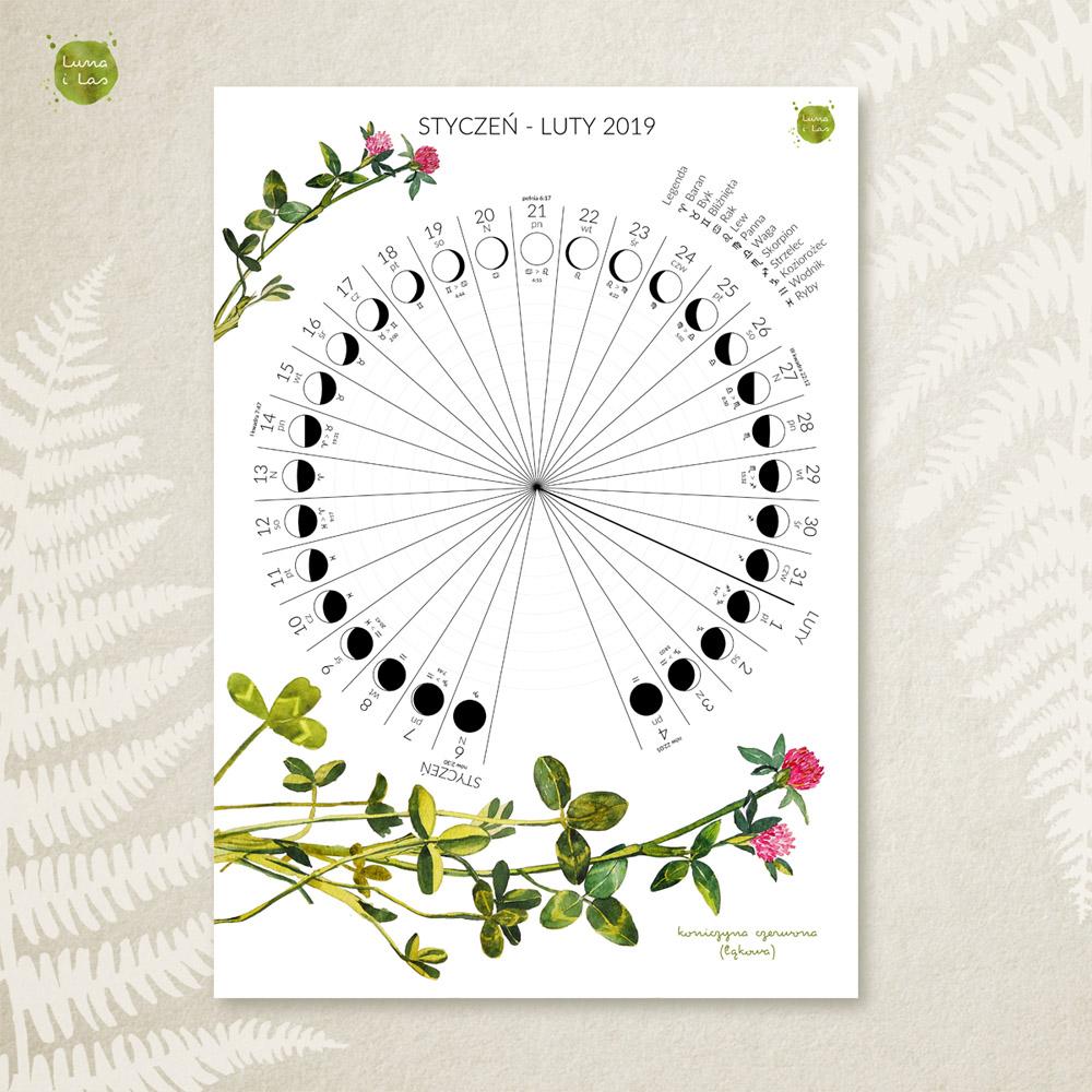 Kartka z księżycowego kalendarza - styczeń luty 2019 z kwiatami koniczyny